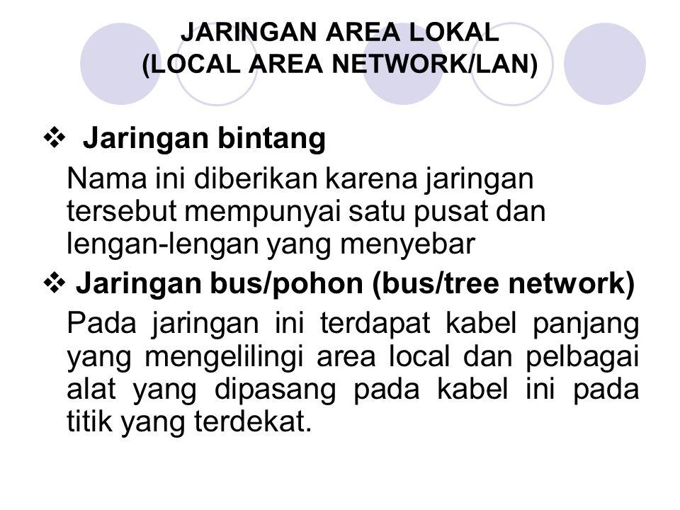 JARINGAN AREA LOKAL (LOCAL AREA NETWORK/LAN)  Jaringan bintang Nama ini diberikan karena jaringan tersebut mempunyai satu pusat dan lengan-lengan yan