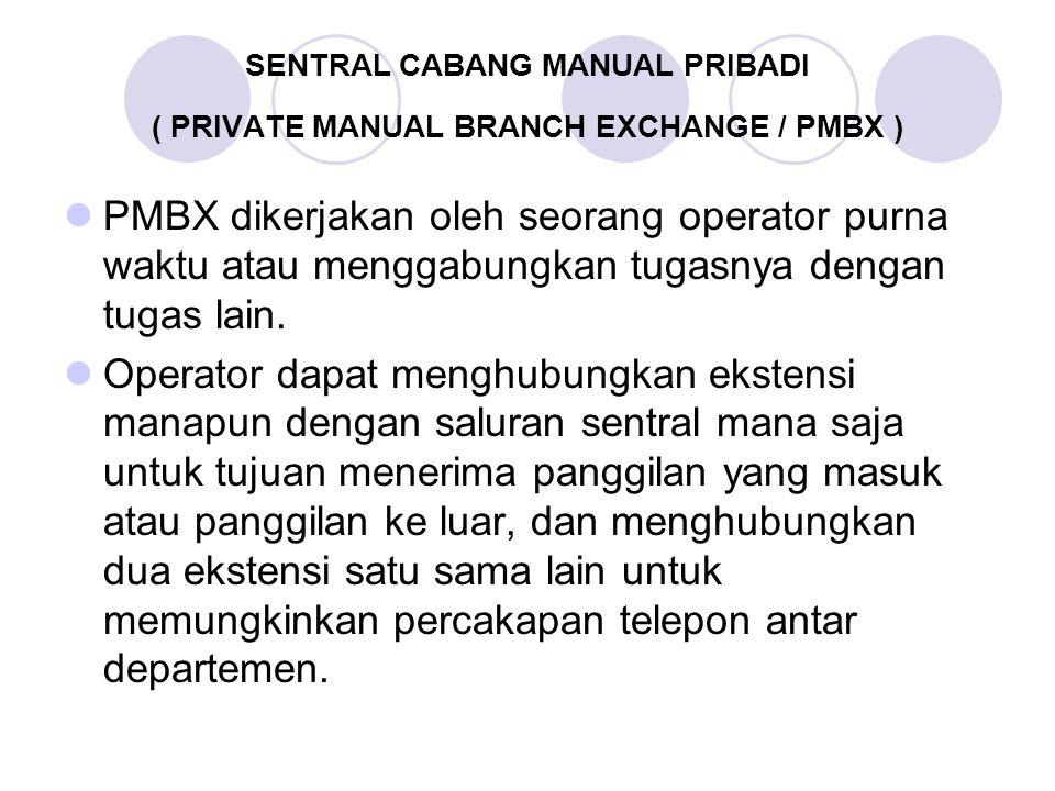 SENTRAL CABANG MANUAL PRIBADI ( PRIVATE MANUAL BRANCH EXCHANGE / PMBX ) PMBX dikerjakan oleh seorang operator purna waktu atau menggabungkan tugasnya