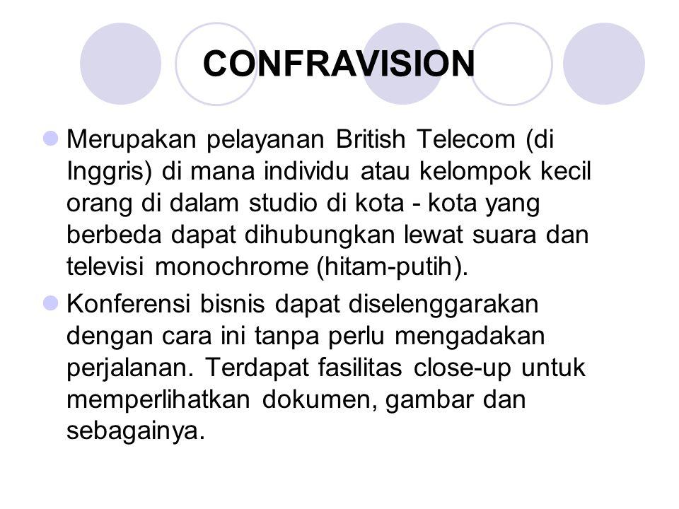 CONFRAVISION Merupakan pelayanan British Telecom (di Inggris) di mana individu atau kelompok kecil orang di dalam studio di kota - kota yang berbeda d