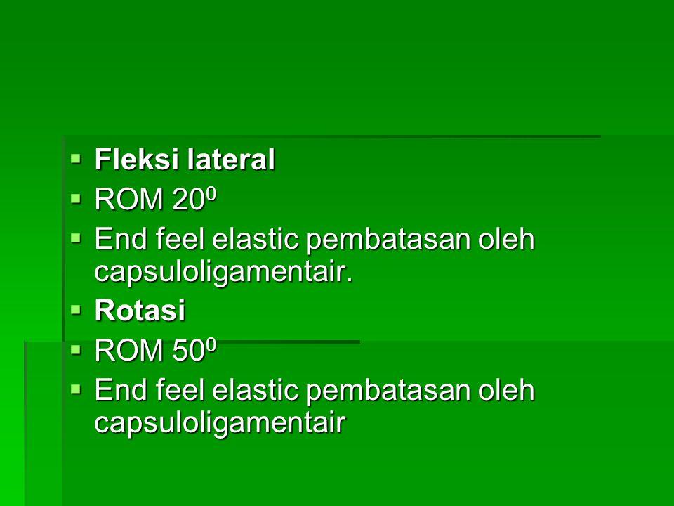  Fleksi lateral  ROM 20 0  End feel elastic pembatasan oleh capsuloligamentair.  Rotasi  ROM 50 0  End feel elastic pembatasan oleh capsuloligam