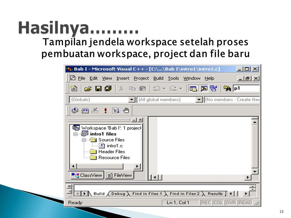 Tampilan jendela workspace setelah proses pembuatan workspace, project dan file baru 16
