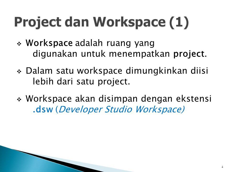  Workspace adalah ruang yang digunakan untuk menempatkan project.  Dalam satu workspace dimungkinkan diisi lebih dari satu project.  Workspace akan