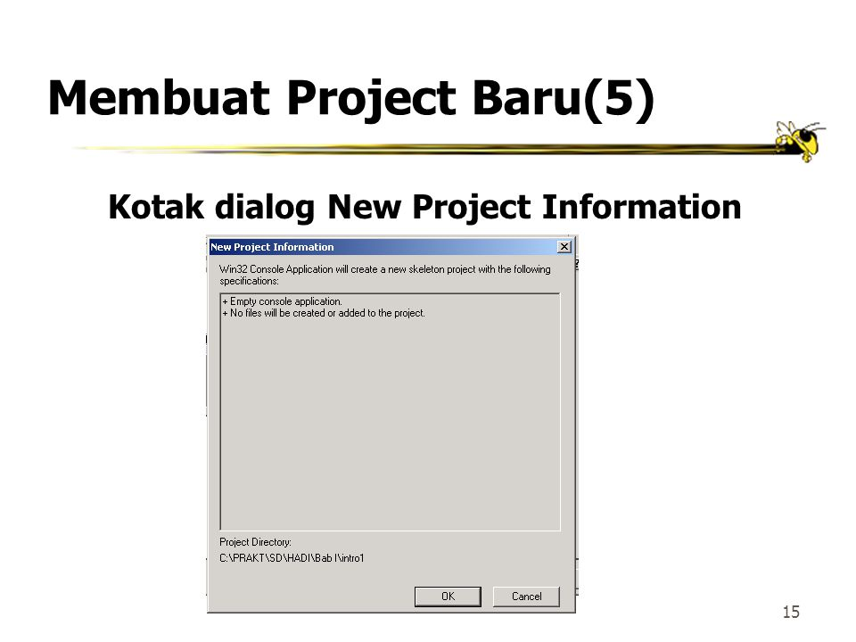 14 Membuat Project Baru(4) Kotak dialog Step 1 of 1