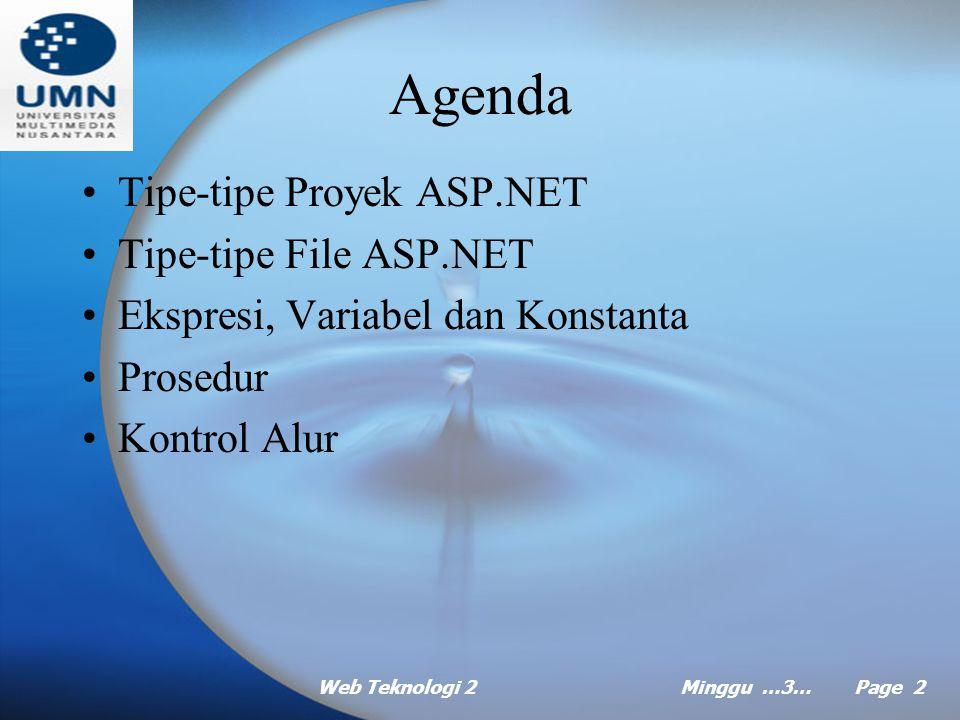 Web Teknologi 2Minggu …3… Page 1 MINGGU Ke Tiga Pemrograman Visual 2 Pokok Bahasan: Dasar-dasar Pengembangan Web ASP.NET Tujuan Instruksional Khusus: Mahasiswa akan dapat menjelaskan dasar- dasar pengembangan Web ASP.NET Referensi:  Microsoft ASP.NET Step by Step G.Andrew Duthie, Bab 3 dan Bab 4  Dasar pemrograman database web dengan ASP, Abdul Kadir, Bab 7