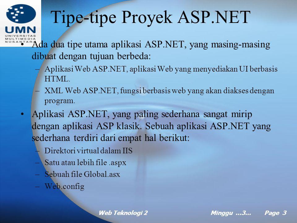 Web Teknologi 2Minggu …3… Page 2 Agenda Tipe-tipe Proyek ASP.NET Tipe-tipe File ASP.NET Ekspresi, Variabel dan Konstanta Prosedur Kontrol Alur