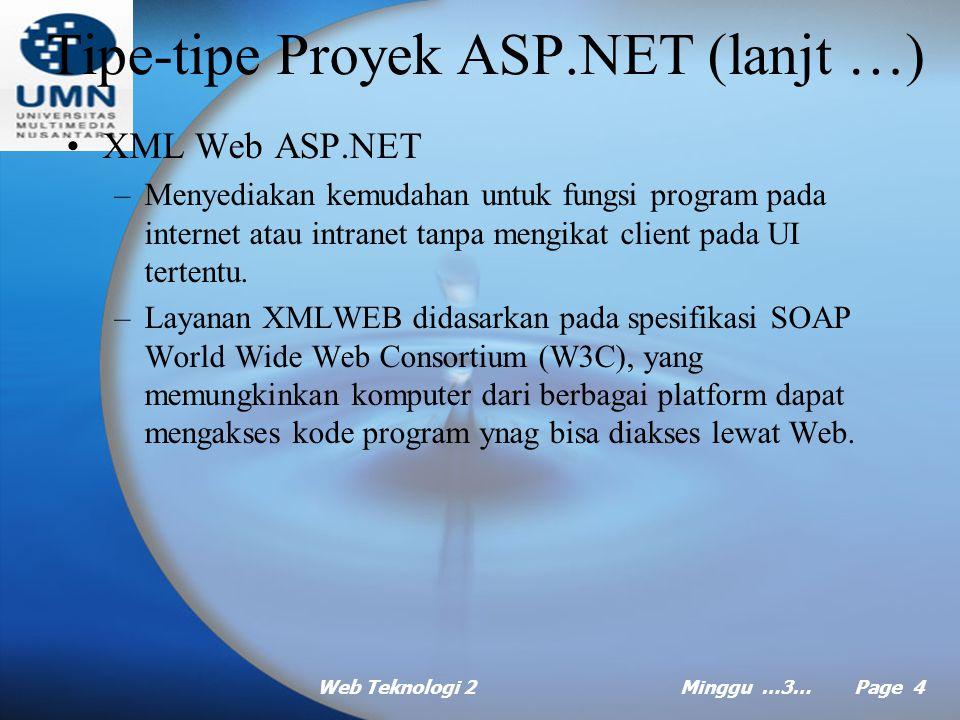 Web Teknologi 2Minggu …3… Page 3 Tipe-tipe Proyek ASP.NET Ada dua tipe utama aplikasi ASP.NET, yang masing-masing dibuat dengan tujuan berbeda: –Aplikasi Web ASP.NET, aplikasi Web yang menyediakan UI berbasis HTML.