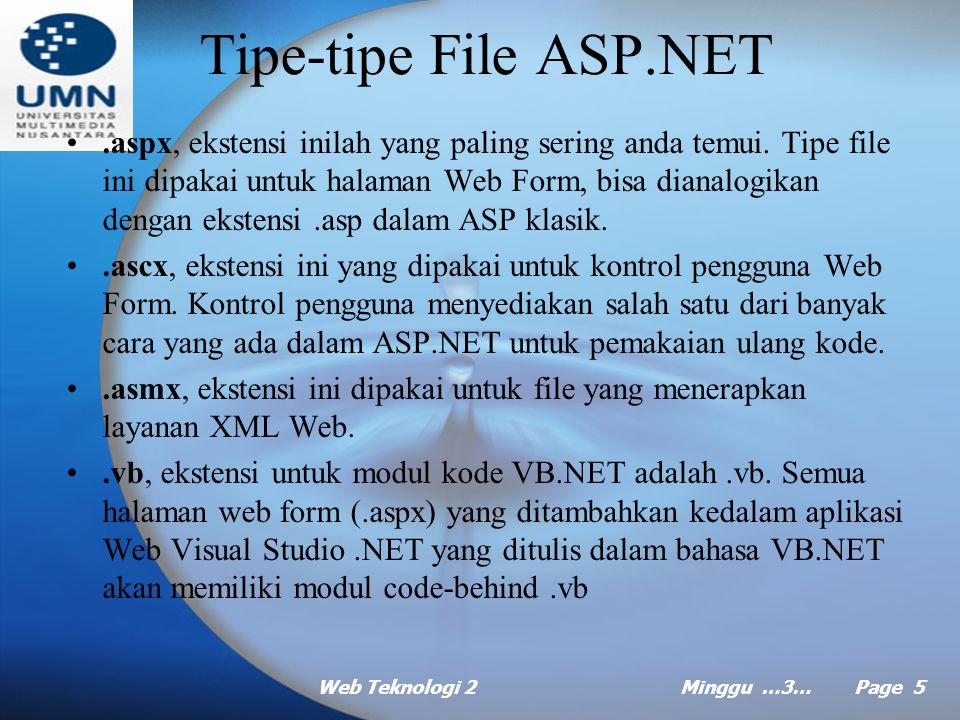 Web Teknologi 2Minggu …3… Page 4 Tipe-tipe Proyek ASP.NET (lanjt …) XML Web ASP.NET –Menyediakan kemudahan untuk fungsi program pada internet atau int