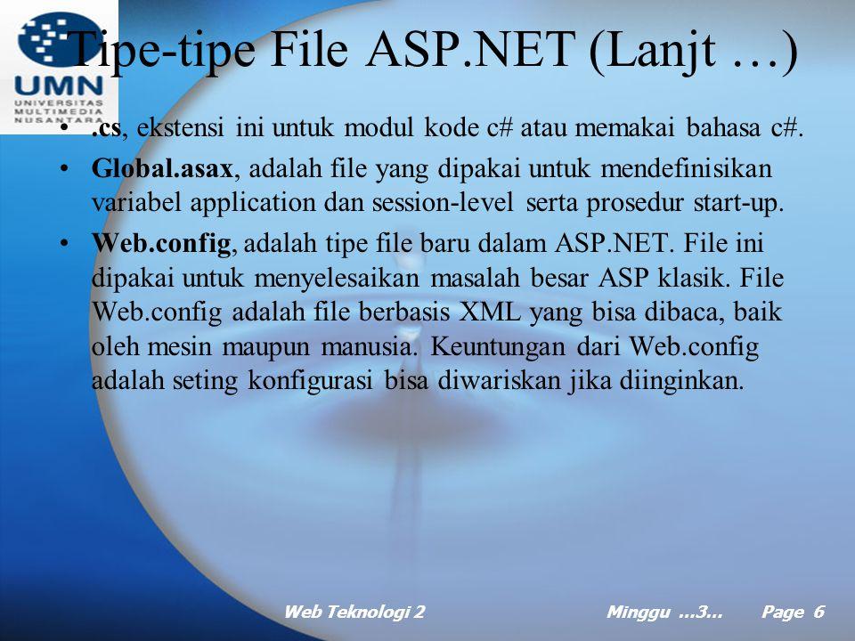 Web Teknologi 2Minggu …3… Page 5 Tipe-tipe File ASP.NET.aspx, ekstensi inilah yang paling sering anda temui. Tipe file ini dipakai untuk halaman Web F
