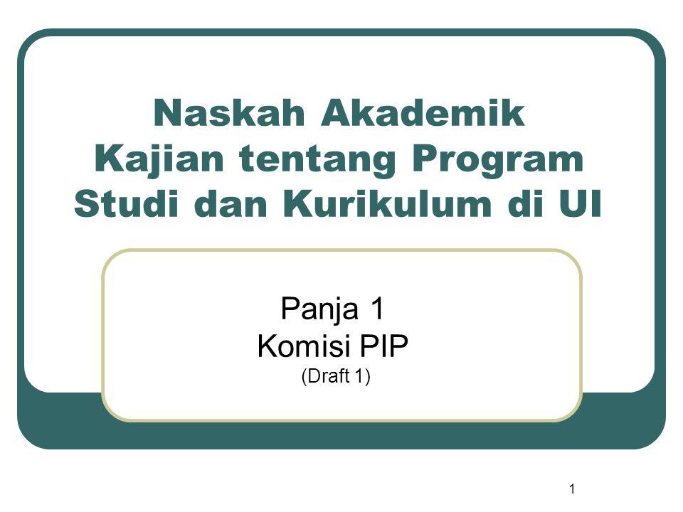 Naskah Akademik Kajian tentang Program Studi dan Kurikulum di UI Panja 1 Komisi PIP (Draft 1) 1