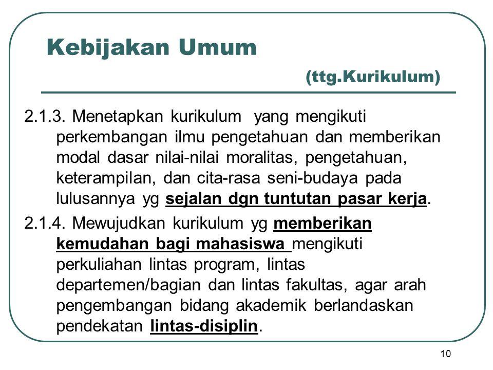 Kebijakan Umum (ttg.Kurikulum) 2.1.3. Menetapkan kurikulum yang mengikuti perkembangan ilmu pengetahuan dan memberikan modal dasar nilai-nilai moralit