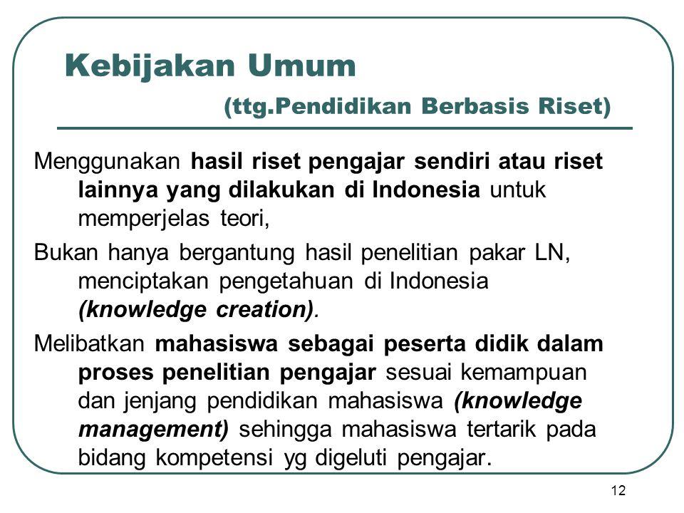 Kebijakan Umum (ttg.Pendidikan Berbasis Riset) Menggunakan hasil riset pengajar sendiri atau riset lainnya yang dilakukan di Indonesia untuk memperjel