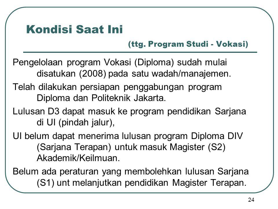 Kondisi Saat Ini (ttg. Program Studi - Vokasi) Pengelolaan program Vokasi (Diploma) sudah mulai disatukan (2008) pada satu wadah/manajemen. Telah dila