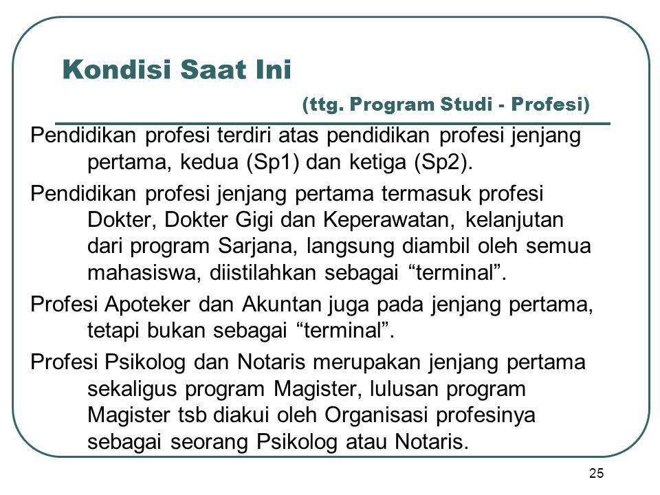 Kondisi Saat Ini (ttg. Program Studi - Profesi) Pendidikan profesi terdiri atas pendidikan profesi jenjang pertama, kedua (Sp1) dan ketiga (Sp2). Pend