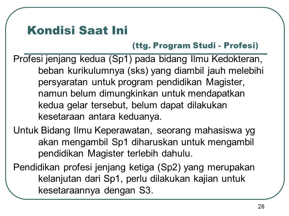 Kondisi Saat Ini (ttg. Program Studi - Profesi) Profesi jenjang kedua (Sp1) pada bidang Ilmu Kedokteran, beban kurikulumnya (sks) yang diambil jauh me