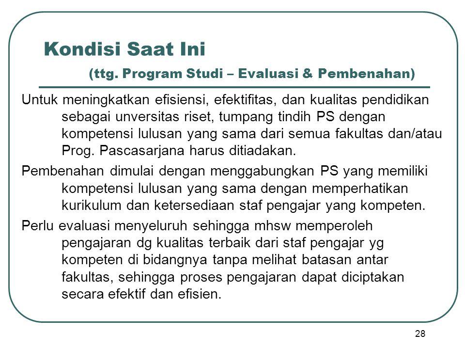 Kondisi Saat Ini (ttg. Program Studi – Evaluasi & Pembenahan) Untuk meningkatkan efisiensi, efektifitas, dan kualitas pendidikan sebagai unversitas ri