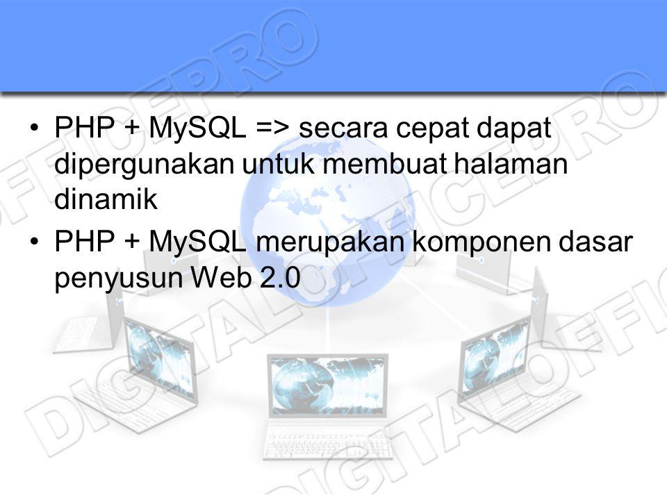 PHP + MySQL => secara cepat dapat dipergunakan untuk membuat halaman dinamik PHP + MySQL merupakan komponen dasar penyusun Web 2.0