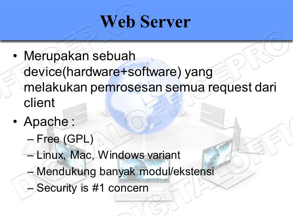 Web Server Merupakan sebuah device(hardware+software) yang melakukan pemrosesan semua request dari client Apache : –Free (GPL) –Linux, Mac, Windows va