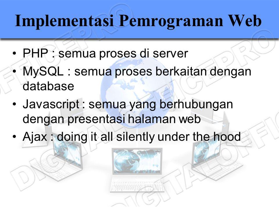 Implementasi Pemrograman Web PHP : semua proses di server MySQL : semua proses berkaitan dengan database Javascript : semua yang berhubungan dengan pr