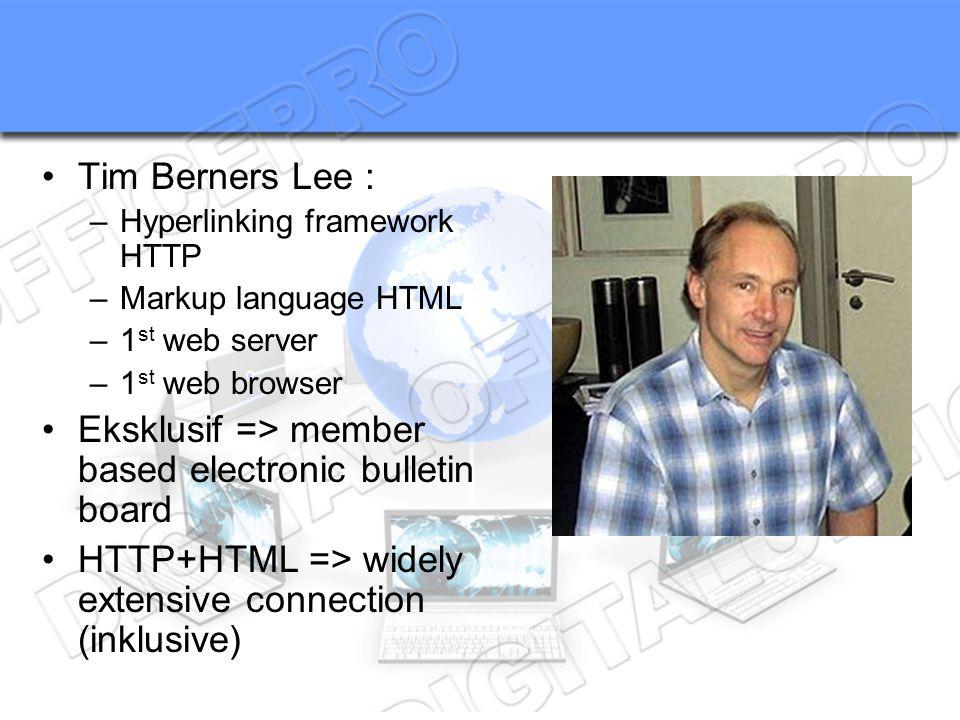 Tim Berners Lee : –Hyperlinking framework HTTP –Markup language HTML –1 st web server –1 st web browser Eksklusif => member based electronic bulletin