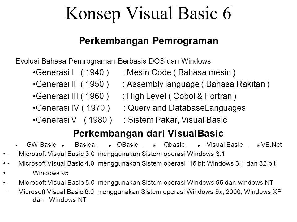 Konsep Visual Basic 6 Perkembangan Pemrograman Evolusi Bahasa Pemrograman Berbasis DOS dan Windows Generasi I ( 1940 ) : Mesin Code ( Bahasa mesin ) G
