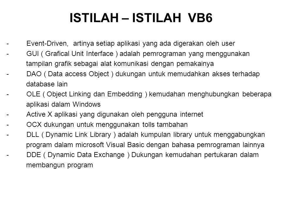ISTILAH – ISTILAH VB6 - Event-Driven, artinya setiap aplikasi yang ada digerakan oleh user - GUI ( Grafical Unit Interface ) adalah pemrograman yang m