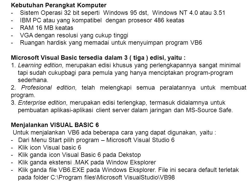 Kebutuhan Perangkat Komputer - Sistem Operasi 32 bit seperti Windows 95 dst, Windows NT 4.0 atau 3.51 - IBM PC atau yang kompatibel dengan prosesor 48