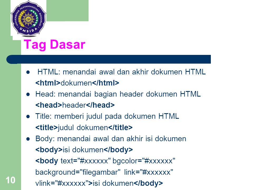 10 Tag Dasar HTML: menandai awal dan akhir dokumen HTML dokumen Head: menandai bagian header dokumen HTML header Title: memberi judul pada dokumen HTM