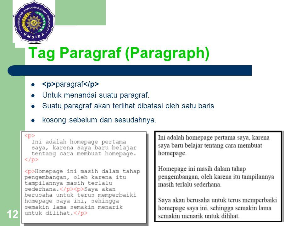 12 Tag Paragraf (Paragraph) paragraf Untuk menandai suatu paragraf. Suatu paragraf akan terlihat dibatasi oleh satu baris kosong sebelum dan sesudahny
