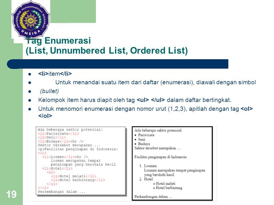 19 Tag Enumerasi (List, Unnumbered List, Ordered List) item Untuk menandai suatu item dari daftar (enumerasi), diawali dengan simbol (bullet) Kelompok