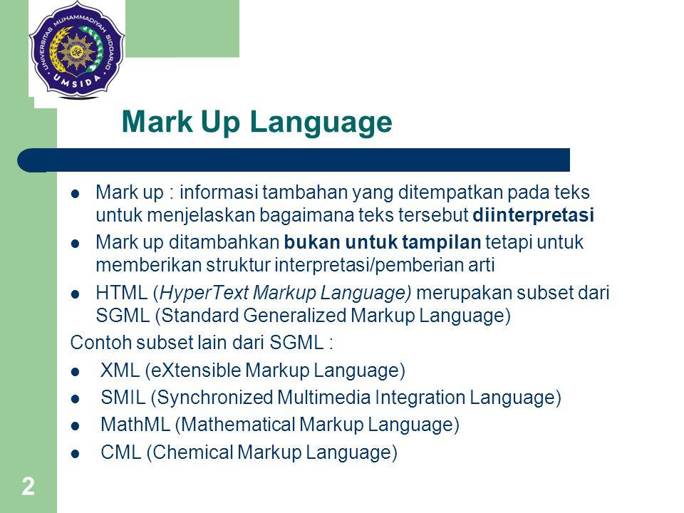 2 Mark Up Language Mark up : informasi tambahan yang ditempatkan pada teks untuk menjelaskan bagaimana teks tersebut diinterpretasi Mark up ditambahka