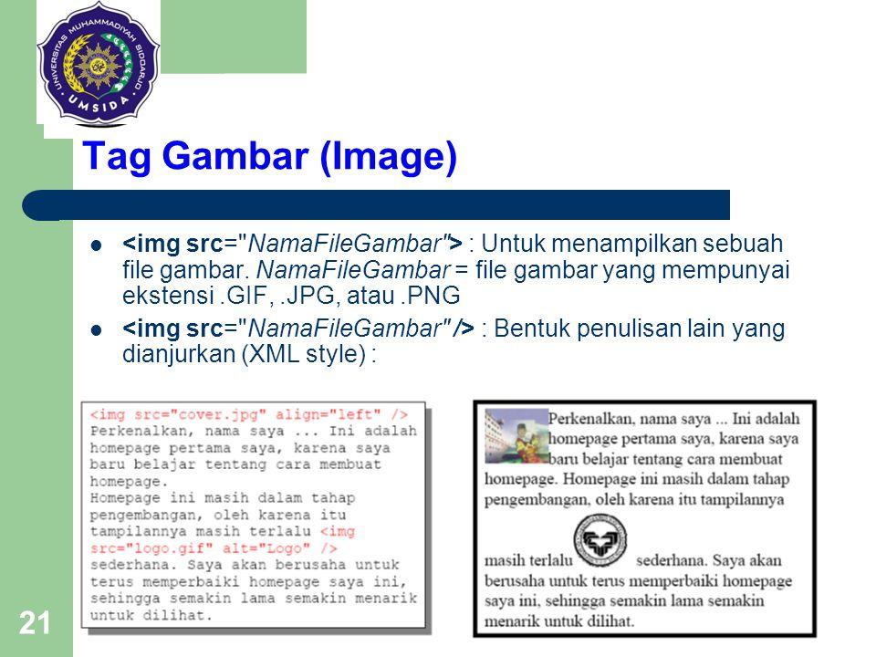 21 Tag Gambar (Image) : Untuk menampilkan sebuah file gambar. NamaFileGambar = file gambar yang mempunyai ekstensi.GIF,.JPG, atau.PNG : Bentuk penulis