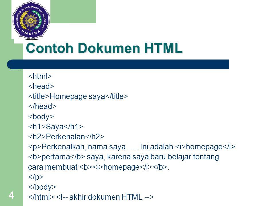 4 Contoh Dokumen HTML Homepage saya Saya Perkenalan Perkenalkan, nama saya..... Ini adalah homepage pertama saya, karena saya baru belajar tentang car