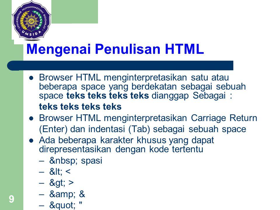 9 Mengenai Penulisan HTML Browser HTML menginterpretasikan satu atau beberapa space yang berdekatan sebagai sebuah space teks teks teks teks dianggap