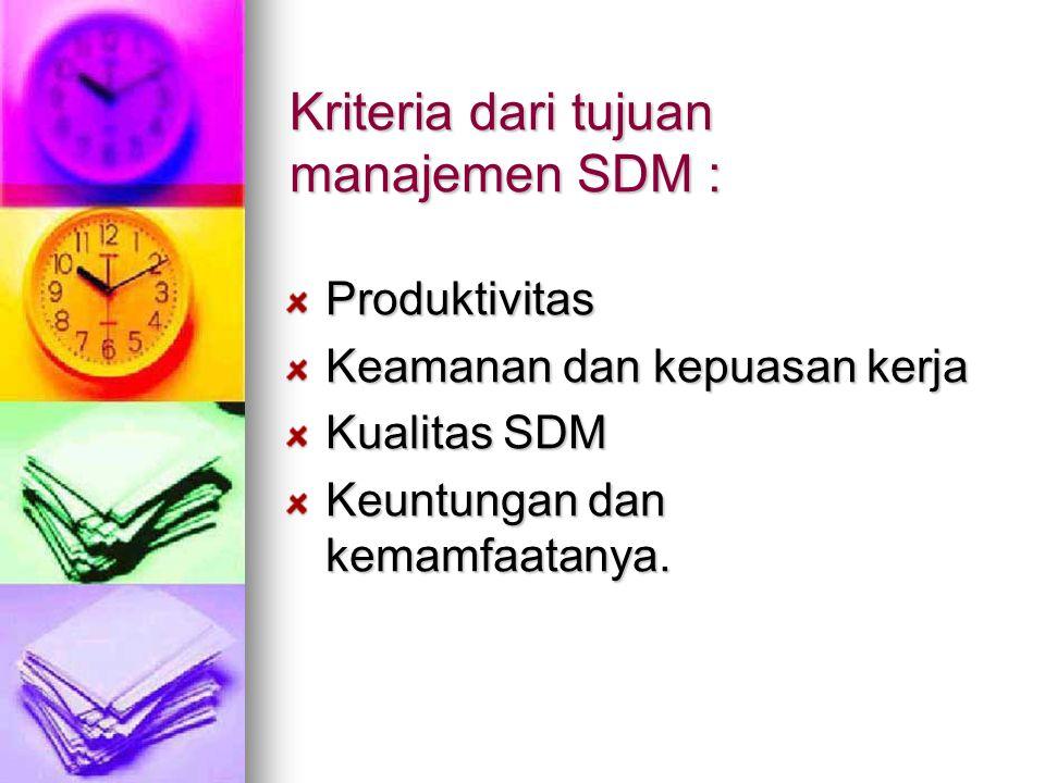 Kriteria dari tujuan manajemen SDM : Produktivitas Keamanan dan kepuasan kerja Kualitas SDM Keuntungan dan kemamfaatanya.