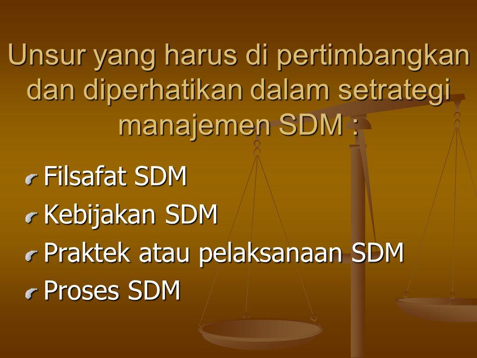 Unsur yang harus di pertimbangkan dan diperhatikan dalam setrategi manajemen SDM : Filsafat SDM Kebijakan SDM Praktek atau pelaksanaan SDM Proses SDM