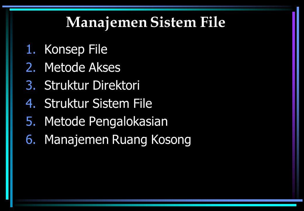 Konsep File (1) File adalah kumpulan informasi yang berhubungan dan tersimpan dalam secondary storage Tipe file : –Data (character, numeric, binary) –Program Penamaan File  terdiri dari nama dan ekstensi Contoh :