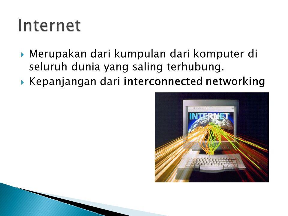  Merupakan dari kumpulan dari komputer di seluruh dunia yang saling terhubung.
