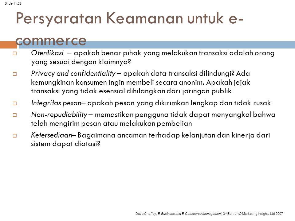 Slide 11.22 Dave Chaffey, E-Business and E-Commerce Management, 3 rd Edition © Marketing Insights Ltd 2007 Persyaratan Keamanan untuk e- commerce  Otentikasi – apakah benar pihak yang melakukan transaksi adalah orang yang sesuai dengan klaimnya.