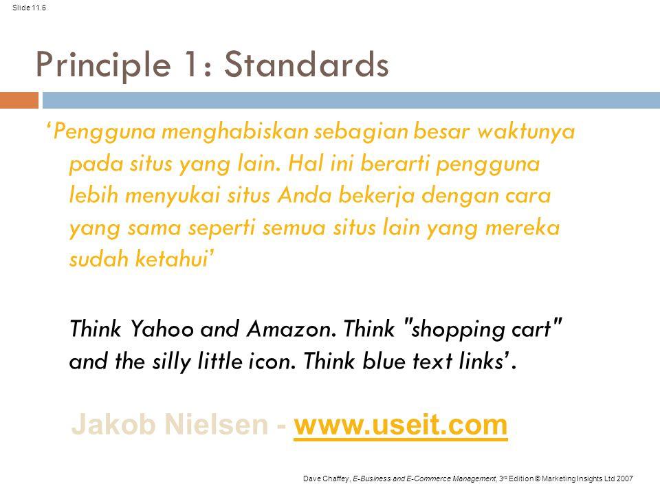 Slide 11.6 Dave Chaffey, E-Business and E-Commerce Management, 3 rd Edition © Marketing Insights Ltd 2007 Principle 1: Standards 'Pengguna menghabiskan sebagian besar waktunya pada situs yang lain.