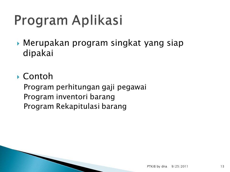  Merupakan program singkat yang siap dipakai  Contoh Program perhitungan gaji pegawai Program inventori barang Program Rekapitulasi barang 9/25/2011 PTKIB by dna13