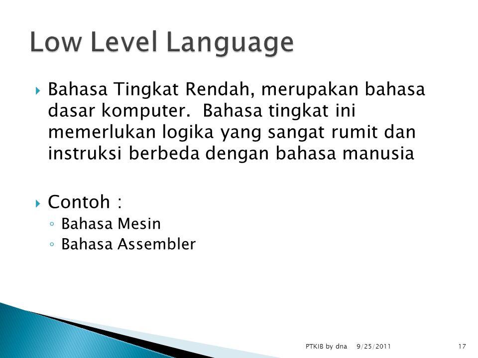  Bahasa Tingkat Rendah, merupakan bahasa dasar komputer.