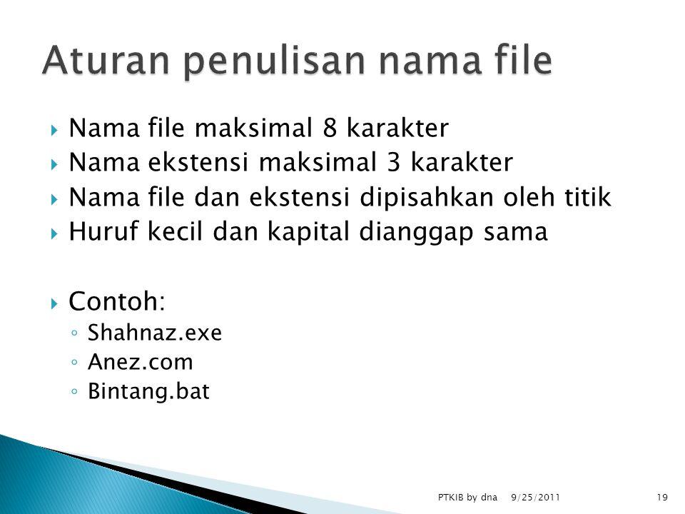  Nama file maksimal 8 karakter  Nama ekstensi maksimal 3 karakter  Nama file dan ekstensi dipisahkan oleh titik  Huruf kecil dan kapital dianggap sama  Contoh: ◦ Shahnaz.exe ◦ Anez.com ◦ Bintang.bat 9/25/2011 PTKIB by dna19