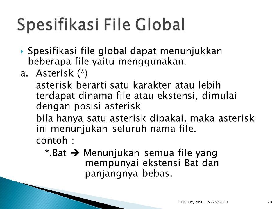  Spesifikasi file global dapat menunjukkan beberapa file yaitu menggunakan: a.