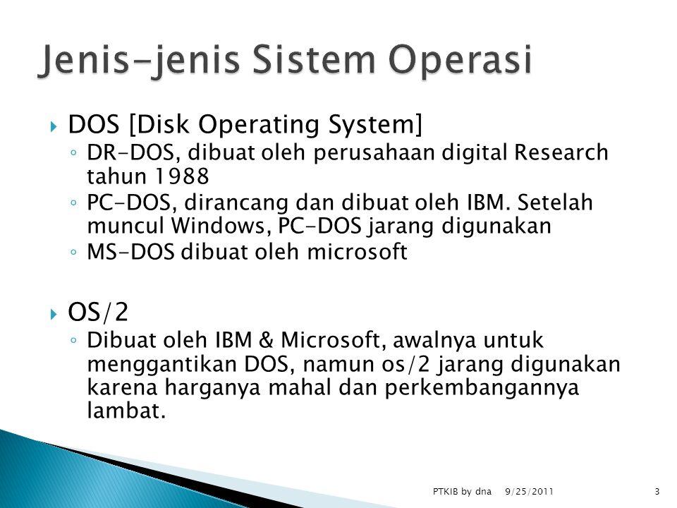  DOS [Disk Operating System] ◦ DR-DOS, dibuat oleh perusahaan digital Research tahun 1988 ◦ PC-DOS, dirancang dan dibuat oleh IBM.