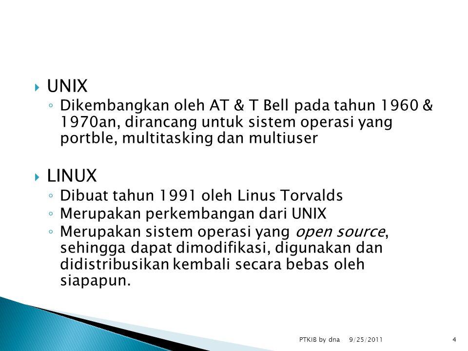  UNIX ◦ Dikembangkan oleh AT & T Bell pada tahun 1960 & 1970an, dirancang untuk sistem operasi yang portble, multitasking dan multiuser  LINUX ◦ Dibuat tahun 1991 oleh Linus Torvalds ◦ Merupakan perkembangan dari UNIX ◦ Merupakan sistem operasi yang open source, sehingga dapat dimodifikasi, digunakan dan didistribusikan kembali secara bebas oleh siapapun.
