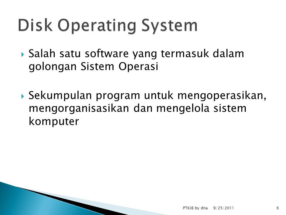  Salah satu software yang termasuk dalam golongan Sistem Operasi  Sekumpulan program untuk mengoperasikan, mengorganisasikan dan mengelola sistem komputer 9/25/2011 6PTKIB by dna