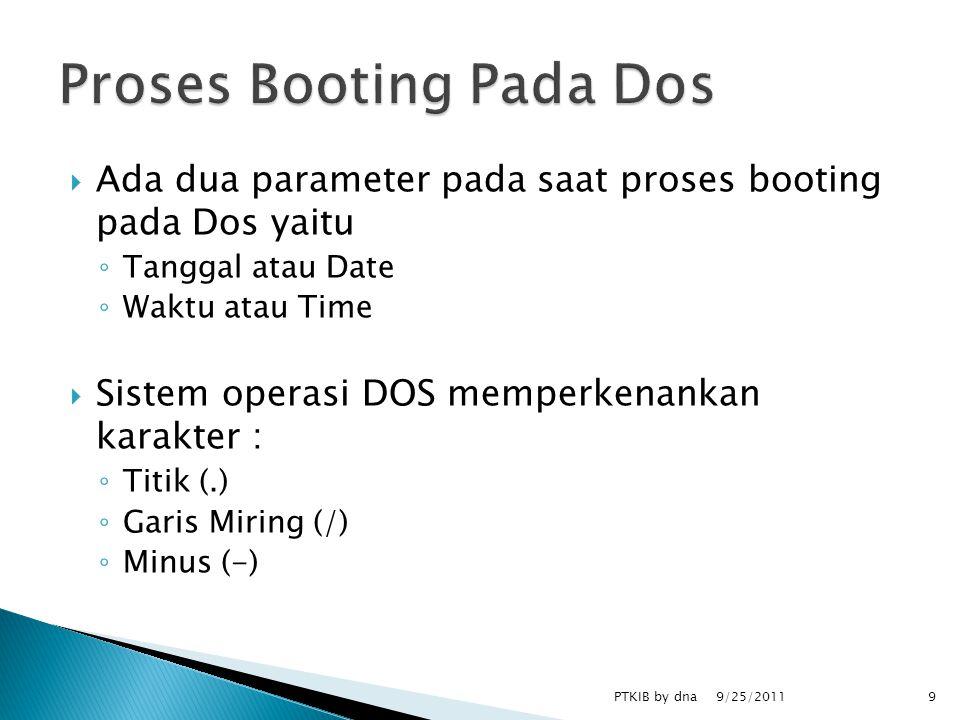  Ada dua parameter pada saat proses booting pada Dos yaitu ◦ Tanggal atau Date ◦ Waktu atau Time  Sistem operasi DOS memperkenankan karakter : ◦ Titik (.) ◦ Garis Miring (/) ◦ Minus (-) 9/25/2011 PTKIB by dna9