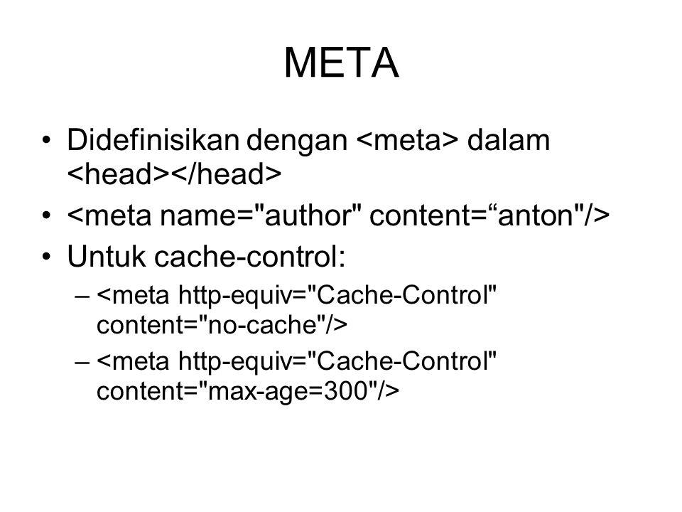 META Didefinisikan dengan dalam Untuk cache-control: –