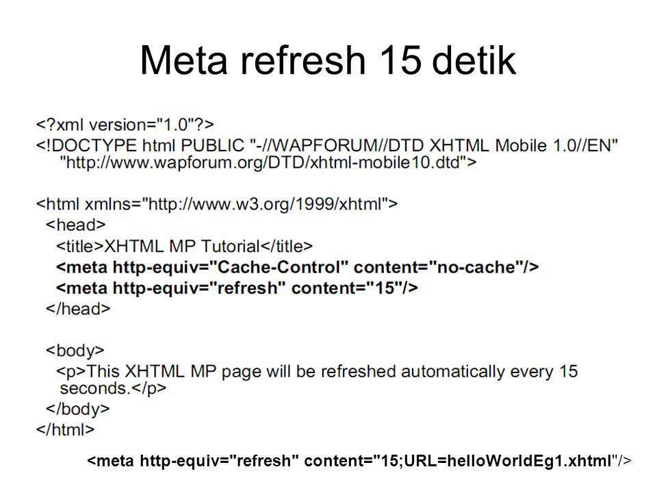 Meta refresh 15 detik