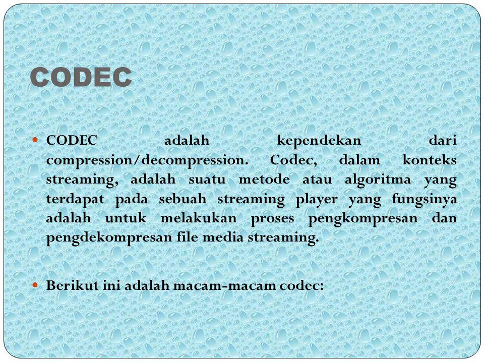 CODEC CODEC adalah kependekan dari compression/decompression. Codec, dalam konteks streaming, adalah suatu metode atau algoritma yang terdapat pada se